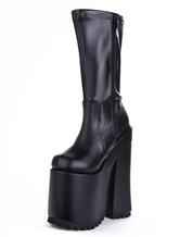 Negro Sexy Zapatos de Plataforma 2021 Punta Reronda Abrochar Botas de tacón alto Mujer Sexy Botas