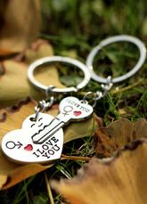 4 pares chave e coração chaveiro Metal favores para casamento