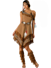 Anime Costumes AF-S2-430451 Halloween Amazing Brown Native American Womens Sexy Costume