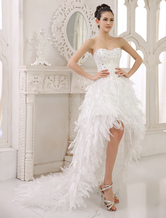Ivory A-line Strapless Sweetheart Neck Tiered Asymmetrical Bridal Wedding Gown  Milanoo