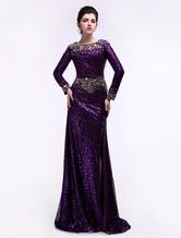 Sequin Evening Dress Sheath Maxi Party Dress Long Sleeves High Slit Occasion Dress
