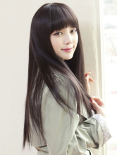Anime Costumes AF-S2-434889 Brownish Black Straight Heat-resistant Fiber Oriental Fashion Long Wig