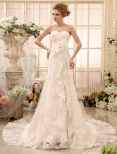 Wedding Dresses Strapless Lace Bridal Gown Sweetheart Neckline Flowers Pleated Cascading Ruffles Train Bridal Dress Milanoo