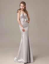 Mermaid Floor-Length Silver Satin Draped Evening Dress with Sweetheart Neck wedding guest dress