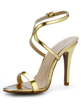 Ouro Stiletto calcanhar cortado PU couro Sexy vestido sandálias para senhoras