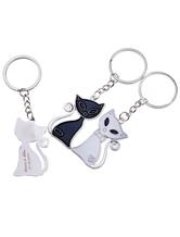 Gato padrão casamento Metal Keychain conjunto de 12