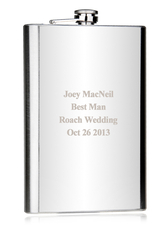 Silver Metal 64 ounce Personalized Flask for Wedding with Leather Cover