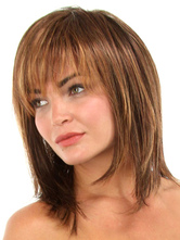 Anime Costumes AF-S2-444521 Brown Straight Heat-resistant Fiber Shoulder Length Womens Lace Wig