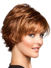 Anime Costumes AF-S2-444559 Brown Side Parting Heat-resistant Fiber Short Womens Lace Wig