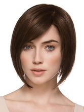 Anime Costumes AF-S2-444527 Elegant Brown Straight Medium Heat-resistant Fiber Lace Wig for Woman