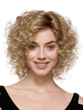 Anime Costumes AF-S2-444565 Gold Full-Volume Curls Heat-resistant Fiber Medium Lace Wig for Woman