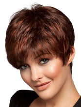Anime Costumes AF-S2-444571 Oriental Mahogany Straight Short Heat-resistant Fiber Lace Women Wig