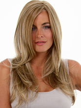 Anime Costumes AF-S2-444435 Quality Flaxen Straight Heat-resistant Fiber Long Womens Lace Wig