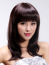 Anime Costumes AF-S2-445755 Dark Red Kanekalon Blunt Fringe Shoulder Length Synthetic Full Wig