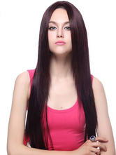 Anime Costumes AF-S2-445713 Mahogany Centre Parting Long Kanekalon Tossed Womens Lace Wig