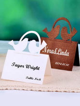 Square Couple Birds Pearl Paper Wedding Place Cards Set of 12