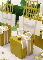 Gold Square Chair Shape Pearl Paper Wedding Favor Boxes Set of 12