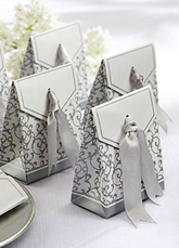 Silver Square Floral Pearl Paper Wedding Favor Bags Set of 12