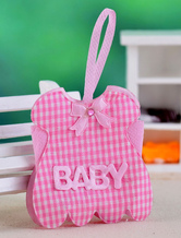 Pink Plaid Pattern Pearl Paper Wedding Favor Bags Set of 12