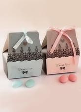 Multicolor Wedding Favors Bow Print Paper Wedding Sugar Box