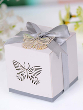 Bow Pearl Butterfly Paper Engagement Favor Boxes Set of 12
