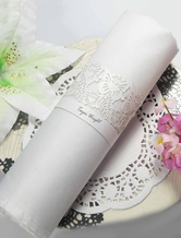 White Hollow Out Butterfly Pearl Paper Wedding Napkin Ring Set of 12