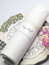 White Rose Hollow Out Pearl Paper Wedding Napkin Ring Set of 12