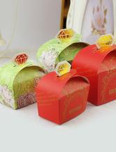 Diamant carré papier perlé Wedding Favor boîtes ensemble de 12