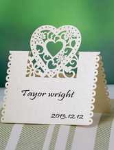 Delicate Hollow Out Heart Shape Wedding Place Cards Set of 12