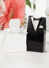 White Wedding Sugar Box Bride&Groom Pearl Paper Box