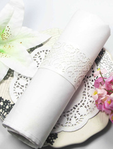 Hollow Out White Pearl Paper Wedding Napkin Ring Set of 12