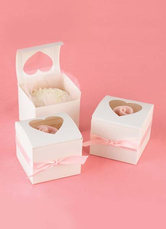 Sweet Heart White Square Pearl Paper Wedding Favor Boxes Set of 12
