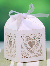 White Bow Pearl Paper Engagement Favor Boxes