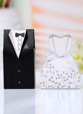 Bride&Groom Pearl Paper Wedding Favor Boxes Set of 12