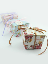Square Pearl Paper Flower Print Wedding Favor Boxes Set of 12