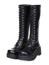 Lolitashow Gothic Lolita noir bottes plate-forme lacet Zip conçu
