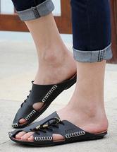 291da4ca3718d5 ... Black Slip-On Strapped Cowhide Mens Sandals Slip-on Slippers -No.5 ...