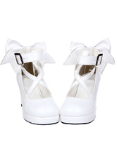 Lolitashow White Chunky High Heels Lolita Shoes Ankle Strap Bow Decor