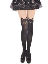 Lolitashow Velvet Lolita-Schenkel-hohe Socken Nette Katzen-Druck in Schwarz