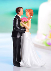 Classic Couple Embrace Figurine Wedding Cake Topper