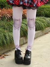 Lolitashow Gothic Nylon Lolita Tights Artwork Print for Spring Autumn