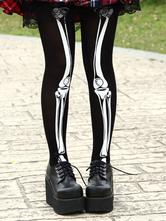 Lolitashow Gothic Black Nylon Lolita Tights White Skeleton Print