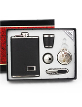 Modern 5-Piece Stainless Steel Personalized Wedding Flask (9 Ounce)