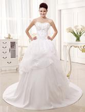 Querida a linha branca pescoço Applique Strapless vestido de casamento nupcial