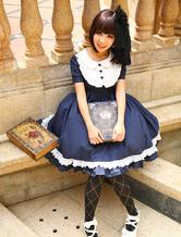 Navy Blue Lolita One piece Dress Asibuto Penta Short Sleeves Turndown Collar Lace Trim