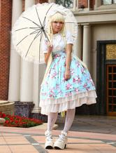 Luz azul algodão Lolita uma peça vestido flor impressão mangas curtas do Chiffon babados