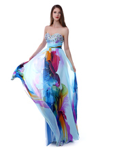 Long Prom Dresses 2020 African Print Prom Dress Strapless Backless Floral Print Beading Sweetheart Chiffon Party Dress Milanoo