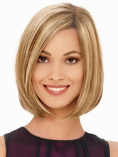 Light Brown Heat-resistant Fiber Straight Quality Womens Medium Wig