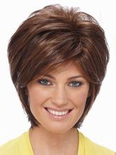 Attractive Tan Curly Heat-resistant Fiber Womens Short Wig