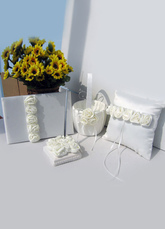White Satin Wedding Collection Set with Beautiful Flower